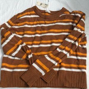 Orange Striped Crew Sweater